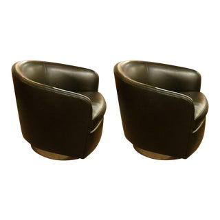 Milo Baughman Barrel Back Swivel Tilt Lounge Chairs - a Pair