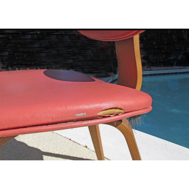 Thonet Vintage 1960 Bent Plywood Coral Vinyl Chair - Image 5 of 6