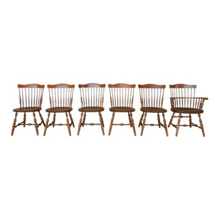 S Bent Bros Set of 6 Colonial Windsor Fan Back Maple Chairs