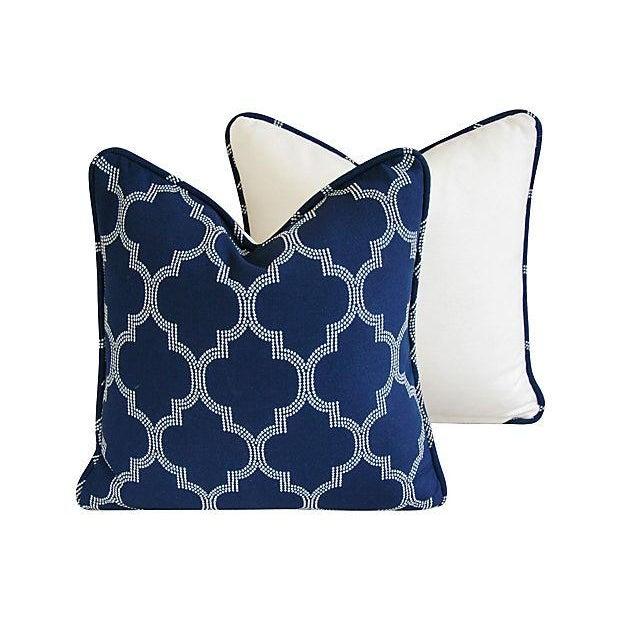 Custom Bocce Blue White Geometric Pillows- A Pair - Image 5 of 7