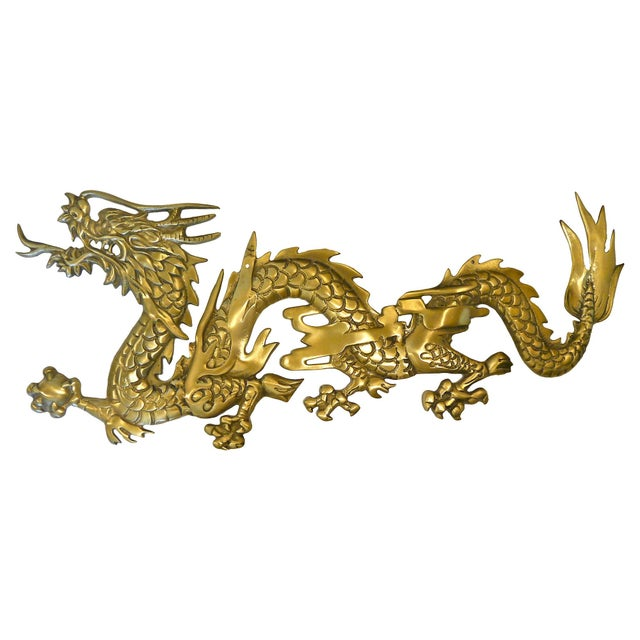 Large Brass Wall Hanging Dragons - A Pair - Image 5 of 7