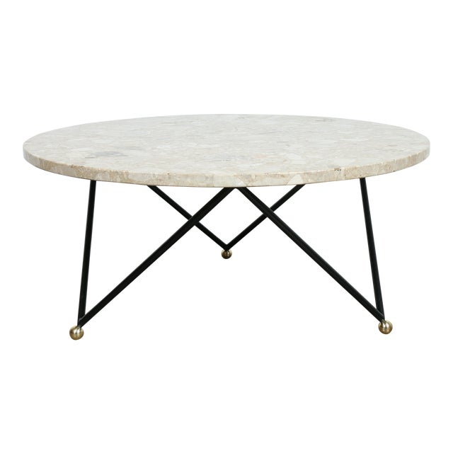 Custom marble wrought iron coffee table chairish for Marble and wrought iron coffee table