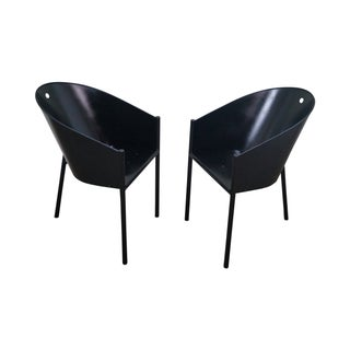 Philippe Starck Aleph Black Metal Chairs - A Pair