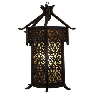 Asian Style Wooden Lantern Wall Sconce