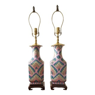 Vintage Heyward House Chinoiserie Table Lamps-A Pair