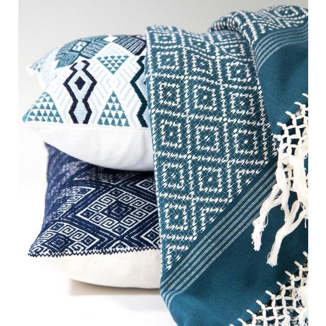 "Handwoven Teal & Blue Guatemalan Pillow - 21""x12"" - Image 3 of 8"