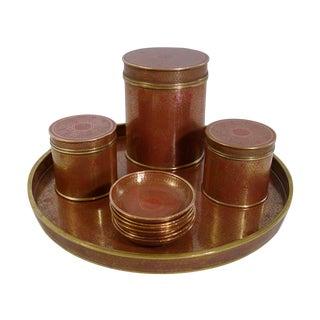 Vintage Cloisonné Tea Tray & Canisters - Set of 10