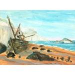 Image of Vintage Seaside Ship Watercolor Painting, C. 1960