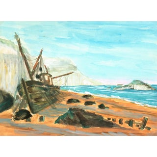 Vintage Seaside Ship Watercolor Painting, C. 1960