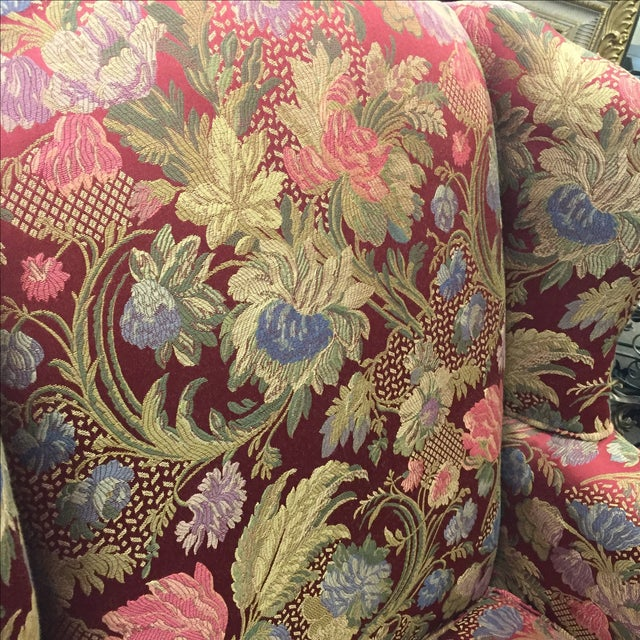 Image of Red Floral Wing Back Chairs - A Pair