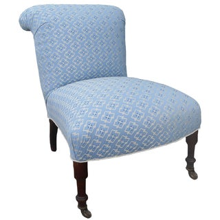 Napoléon III Slipper Chair With Brunschwig Fabric