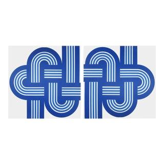 Blue Bold Weave Vintage 1973 Supergraphics - Pair