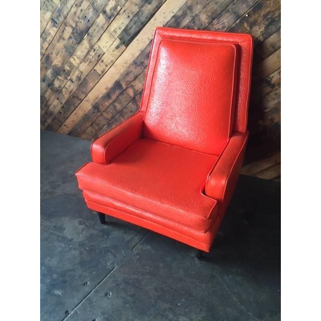Vibrant Mid Century Orange Vinyl Lounge Chair - Image 5 of 7