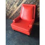 Image of Vibrant Mid Century Orange Vinyl Lounge Chair