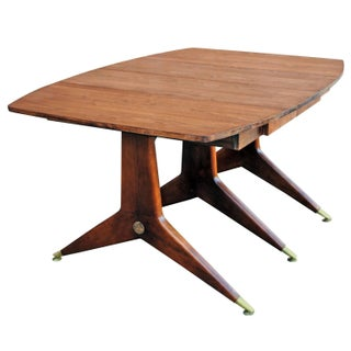 Drop Leaf Gio Ponti Walnut & Brass Dining Table