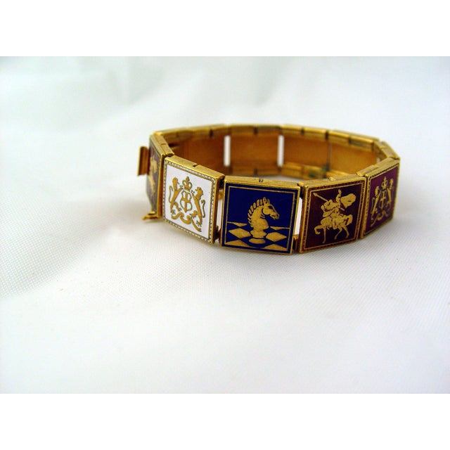 Image of Vintage Enamel Bracelet Knights & Coat Of Arms