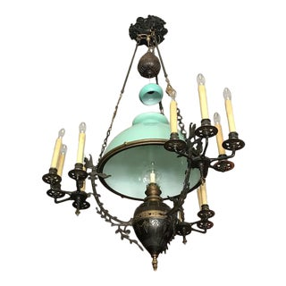 Antique French Mint Green Chandelier