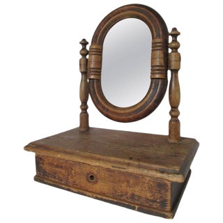 19th Century French Vanity Mirror with Drawer