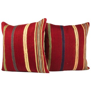 "Striped 20"" Turkish Kilim Pillows - A Pair"