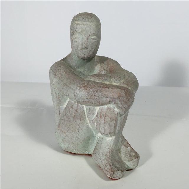Men Seated Terra Cotta Sculpture - Image 9 of 11