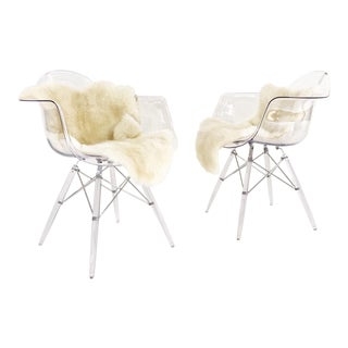 Mid-Century Style Lucite Chairs with Ivory Brazilian Sheepskin Throws - Pair