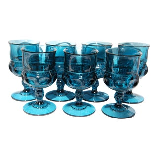 Vintage Depression Glass Blue Wine Glasses - Set of 7