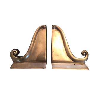 Vintage Hollywood Regency Brass Scrolled Bookends - A Pair