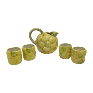 Lemon Pitcher & 4 Matching Glasses