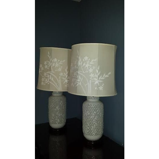 Reticulated Blanc de Chine Lamps - A Pair - Image 3 of 6