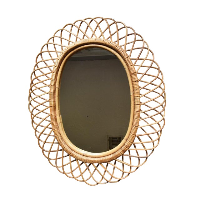 1950's Italian Wicker Oval Flower Burst Mirror - Image 1 of 3