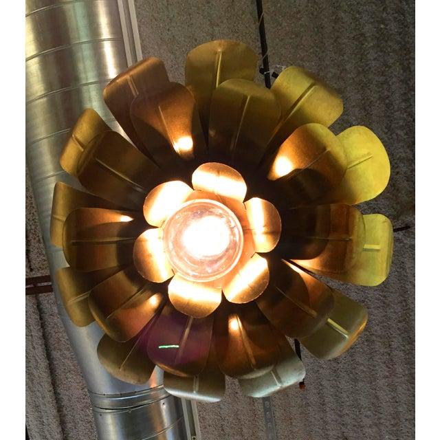 "Image of Pair of Feldman Brass ""Lotus"" Pendant Chandeliers"