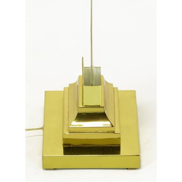 Pair Lucite and Brass Neoclassical Ionic Column Floor Lamps - Image 6 of 8