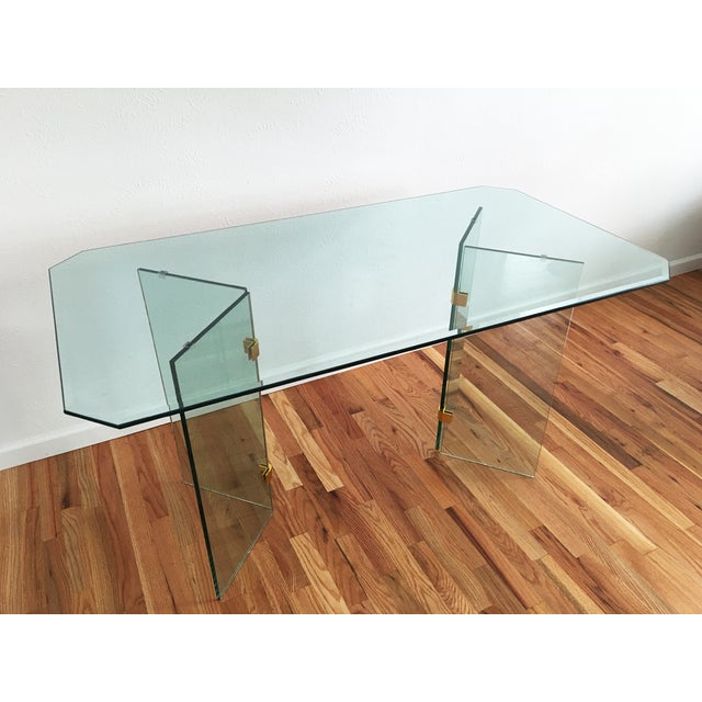 Beveled Glass Dining Table - Image 4 of 8