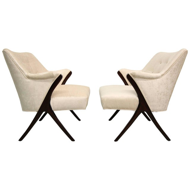 Image of Karpen-Style Mid-Century Scissor Chairs - A Pair