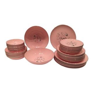 1940's 40 Piece Set of Pink & Silver Dinnerware