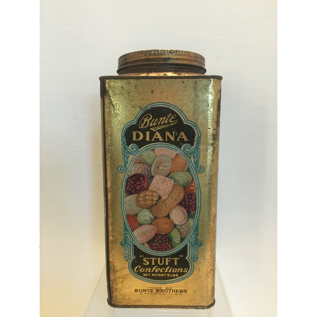 1920's Vintage Bunte Brothers Diana Stuft Confections Tin - Image 3 of 7