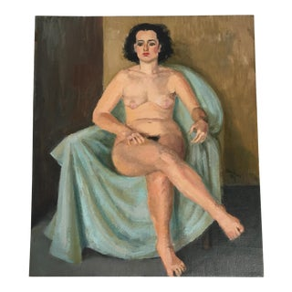 Vintage Nude Portrait Sitting Woman Painting by Kramer