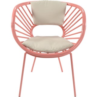 David Francis Pink Modern Rattan Chair