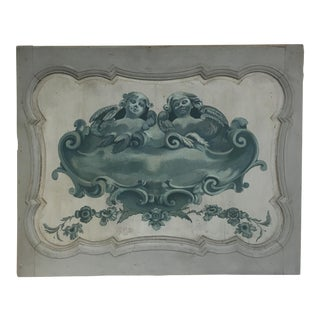Hand Painted Teal Cherub Panel