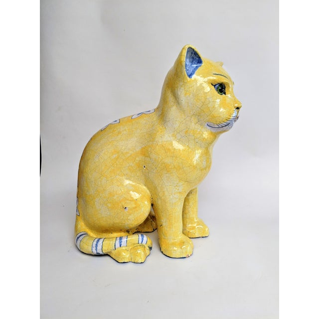 Emil Galle Style Terra Cotta Cat With Glass Eyes - Image 10 of 11