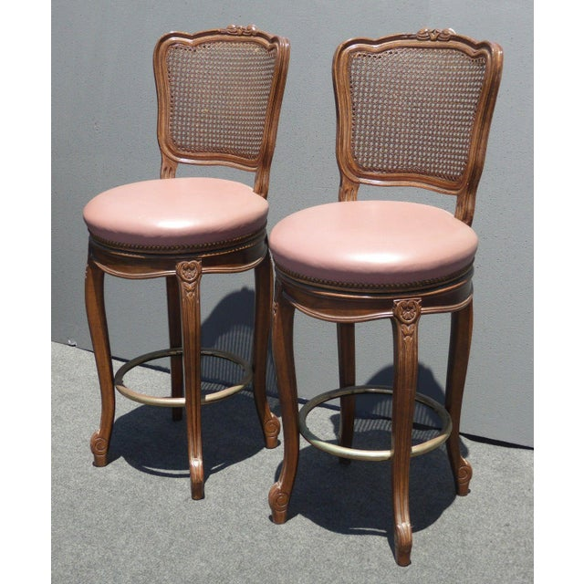 Vintage French Provincial Leather & Cane Bar Stools - A Pair - Image 2 of 11