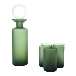 Mid-Century Satin Glass Green Decanter & Glasses - Set of 6