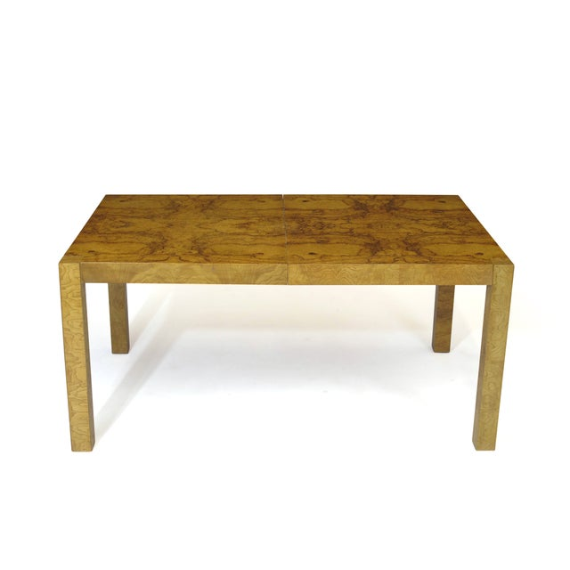 Burled Olive Parsons Dining Table - Image 2 of 9