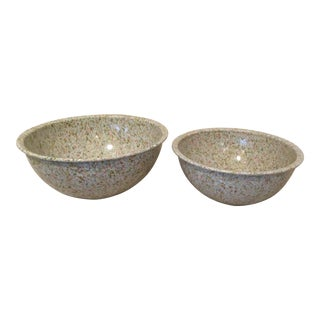 Vintage Melomine Confetti Stacking Bowls - A Pair