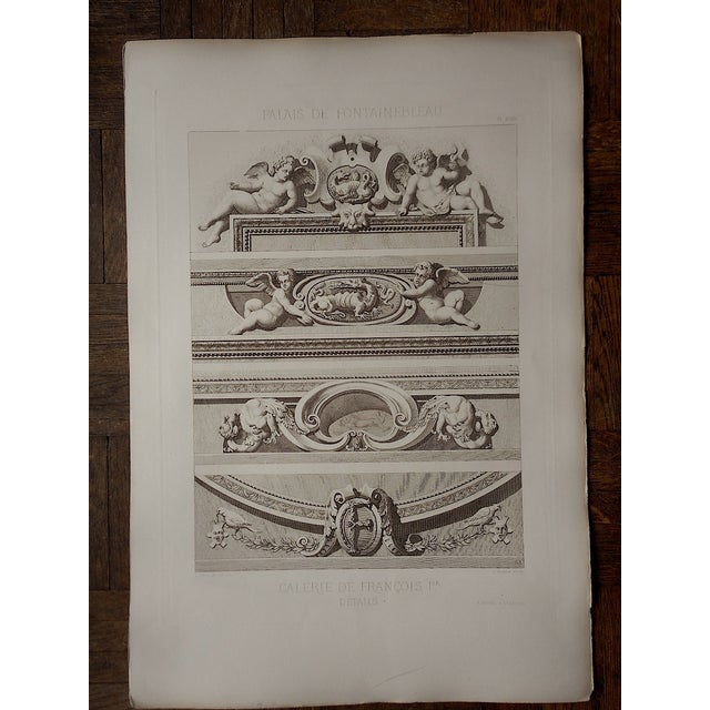 Large Antique Sepia Architectural Engraving - Image 2 of 3