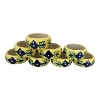 Handpainted Yellow & Purple Ceramic Napkin Rings - Set of 8