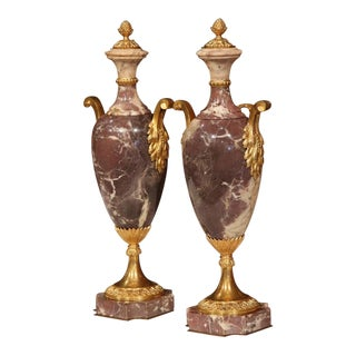 French Louis XVI Marble & Bronze Cassolettes Urns - A Pair