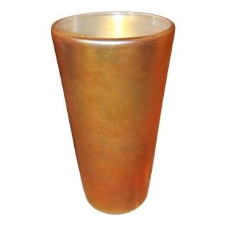 1980's Art Deco Contemporary Steuben Style Gold Vase