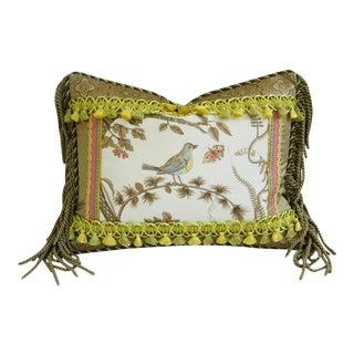 Designer Brunschwig & Fils Bird & Thistle Pillow