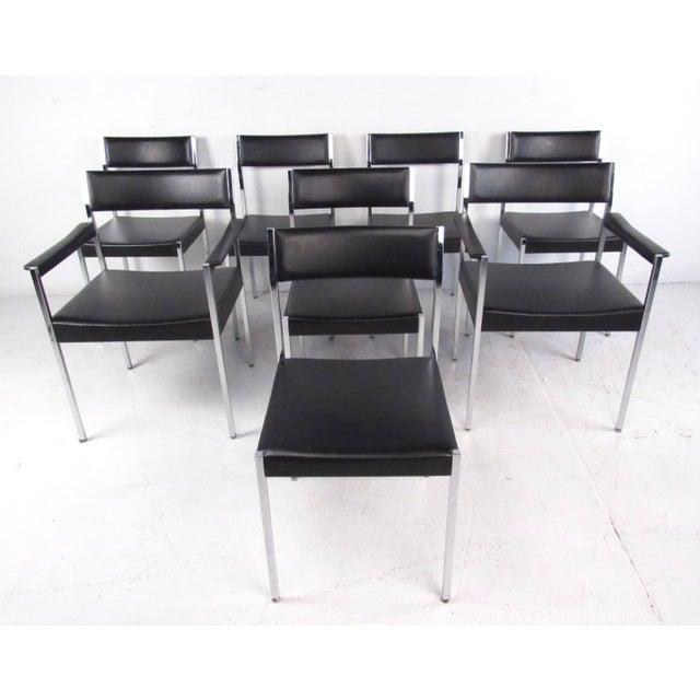 John Stuart Rosewood, Chrome & Leather Dining Set - Image 3 of 11